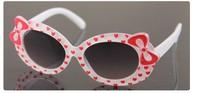 wholesale  free shipping Cute cartoon double bow imitation uv sunglasses for kids boys girls children