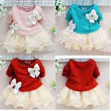 Korean style fashion long sleeve pearls bows baby princess chiffon tutu dresses for girls 2014 spring summer 1 PCS Retail(China (Mainland))