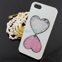 Luxury White 3D Handmade Crystal Diamond Rhinestone Hard Case for i Phone 5 5G 1PCS Free Ship