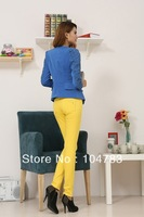 heavyweight   Pencil Pants Autumn winter  elasticity Thin Jeans Women's Lady's fashion Jeans yellow color