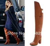 Hot Selling Women High Heel Boots Designer Designer Celebrity Brown Over The Knee Boots Thick Heel Leather Boots Black