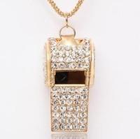 Free Shipping Supernova sale Full Rhinestone Whistle Necklace Gold Plated Costume Jewelry Wholesale