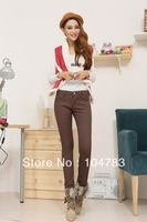 Pencil Pants heavyweight  005 chocolate color Autumn winter  elasticity Thin Jeans Women's Lady's fashion Jeans