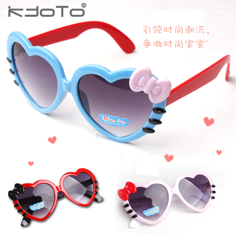 Super Cute Children's Heart-shaped sunglasses Love Sunglasses for Boys and girls child Bow decoration Glasses(China (Mainland))