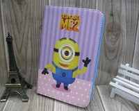 "Designer Cute Cartoon Despicable Me Minions Flip Stand Leather Cases Sleep Cover For Samsung Galaxy 7"" Tab 2 3 P3100 P3200 Pouch"