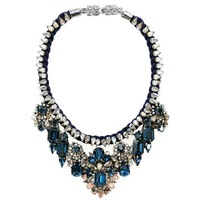 Wholesale 2013 blue Luxury shourouk necklace Beautiful Choker Crystal bib chunky flower Chain Fashion Necklaces pendant women X5