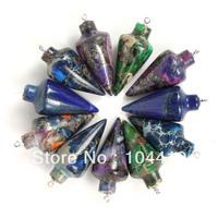 32x15mm New Fashion Jewelry Mixed Materials Sea Sediment Jasper & Pyrite Lapis Pendulum Pendant Beads Wholesale