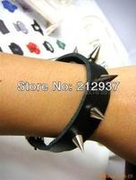 stylish european spikle genuine Leather Bracelet big wide leather cool wristband bracelet bangles for men and women KL0036