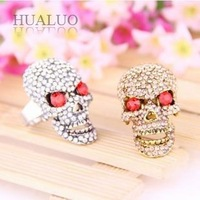 New Arrived Fashion Personality Skull Inlay Full Rhinestone Punk Ring R690 R691