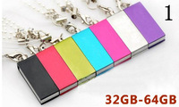 Wholesale 1pcs/lot NEW waterproof rectangle Shape Genuine 32GB 64GB USB Memory Stick Flash Pen Drive, free shipping