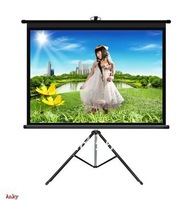 "Glass Beaded Tripod Projector Screen 74"" 1:1 (stronger bracket ) for home theater and school, office"