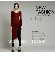 2013 autumn and winter in Europe and America round neck pullover sweater sweater coat Women Slim Long Sweater New sweater