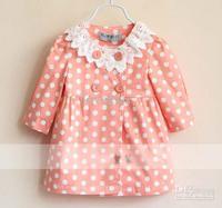 Tench Coats  4T-5T  Girl   Kids Trench Coats Girls Cute Lace Collar Coats Long Sleeve Tops Children Casual Coat Fashion Polka Do