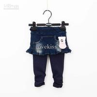 Leggings   3T-4T  Girl   Child Clothing Fashion Polka Dot Leggings Baby Pants Childrens Denim Skirt Leggings Long Trouse