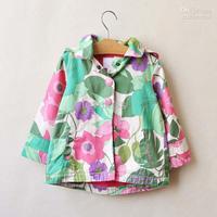 Tench Coats 4T-5T Girl  Kids Trench Coats Child Clothing Long Sleeve Hooded Tops Children Outwear Girls Cute Flower Coat Kids Ho