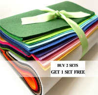 100% polyester felt ,1.2mm thickness ,30cm*30cm size ,16 colors/set ,BUY 2 GET 1 FREE (mean you will get 48pcs)
