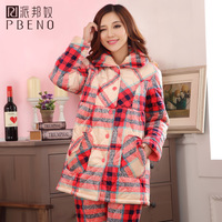 Plus cotton winter long design plaid coral fleece cotton-padded lounge sleepwear female long-sleeve thickening cotton-padded