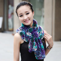 Rex rabbit hair fur muffler scarf ruffle women's thermal scarf multicolour winter flower