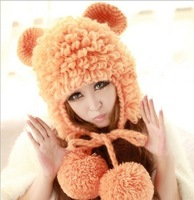 2013 Autumn and winter freeshipping Wool knitted fashion mouse ear with sheep shapes winter cap Women fashion accessories