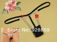 Free Shipping Open Crotch Underpants Sexy Lingerie  hot Low Waist Thongs T Pants Rhinestone