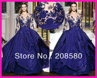 2014 Zuhair Murad Royal Blue See Through Lace Long Sleeve Evening Dresses Ball Gown Free Shipping E3879