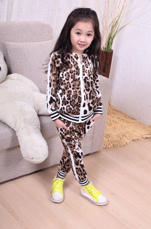 New Arrivals Children Autumn Clothing Set Leopard Print Suit Top Jacket + Pants For Boys Girls Kids Sports suit(China (Mainland))