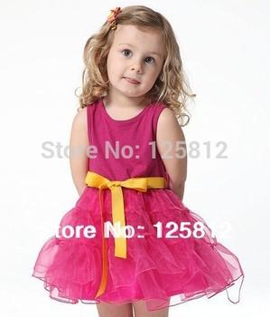 2014 Frozen 56 Free Shinping Wholesale Childrens Girls' Dresses Summer Cotton Vest Dress Belt of The Girls Christmas Fashion