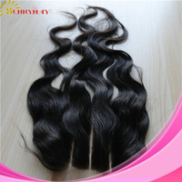 Sunnymay 3 part natural wave virgin Malaysian hair 4x4 120%density bleached knots three part lace closure in stock