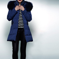 Fish quinquagenarian down coat female thickening thermal mother clothing female winter outerwear plus size raccoon fur