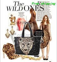 Free shipping 2013 new leopard animal pattern trend sequins rivets female bag big bag Shoulder Messenger
