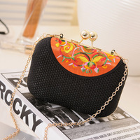 Women's handbag small bag vintage embroidery ethnic bags 2013 chain cross-body bag, elegant evening bags bolsa wedding bag