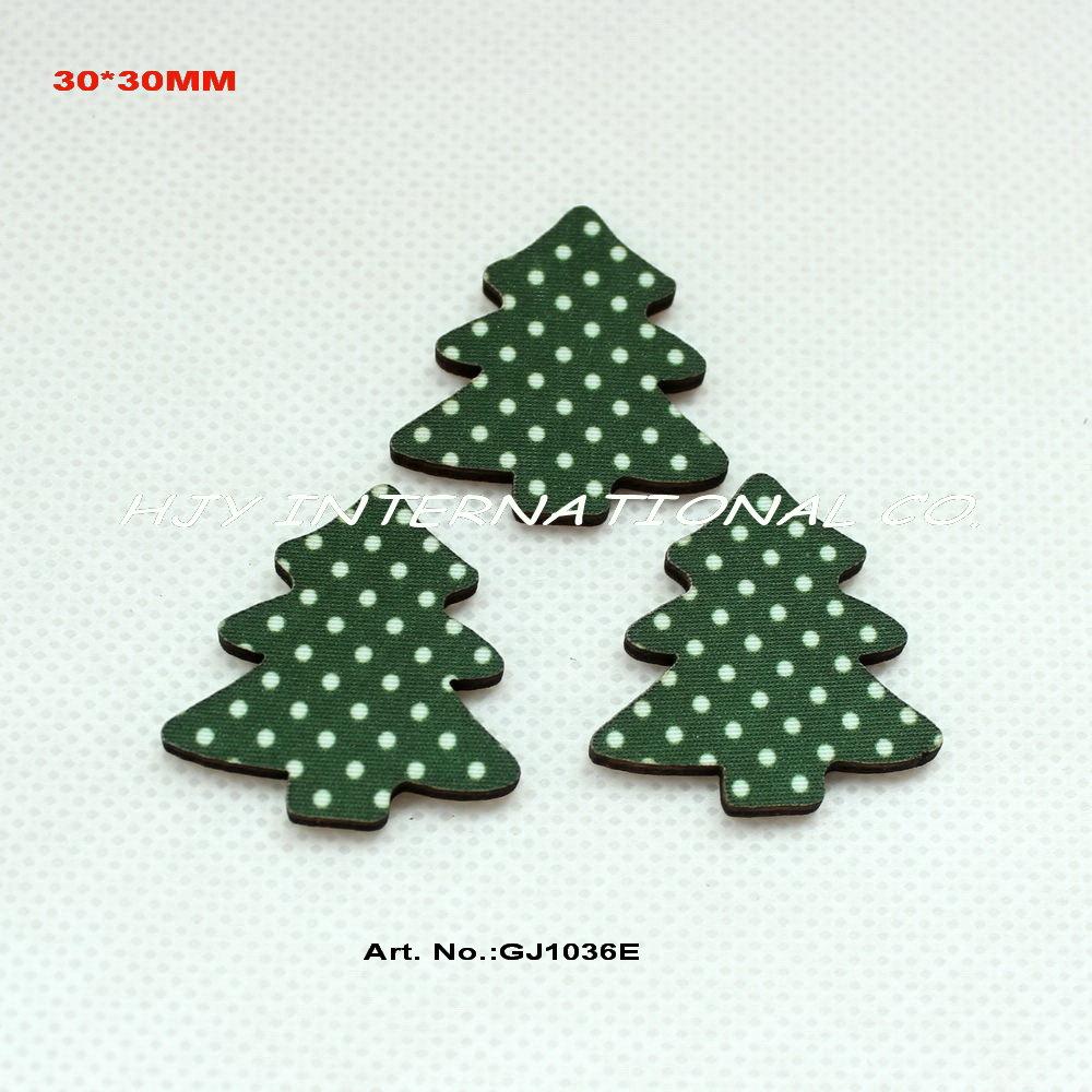 bulk (120pcs/lot) Tree fabric top wooden back Christmas tree hair pin crafts scrapbooking-GJ1036E(China (Mainland))