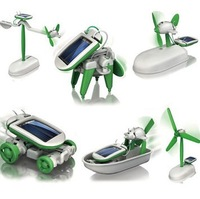 Free shipping DIY 6 in 1 Solar Educational Kit Toy Boat Fan Car Robot Power Moving Dog Novelty Toys