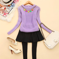 Lovable Secret - - f718 2013 women's o-neck loose long-sleeve knitted mohair sweater j-28  free shipping