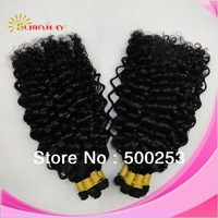 Cheap Malaysian Virgin  Bundle jerry Curly Hair Extensions hand tied  Weft