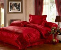 Red Lace Jacquard wedding bedding set queen king size 4pcs silk/cotton duvet cover bed linen Satin bedclothes set home textile