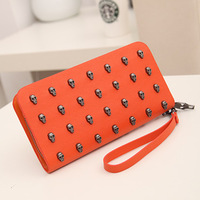 new 2013 vintage punk skull clutch bags women  wallet long design small bags envelop party  bag free shipping