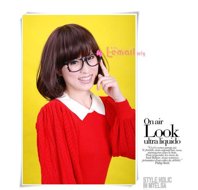 30cm short Dark chestnut brown Fashion mushroom women wig FS18(China (Mainland))