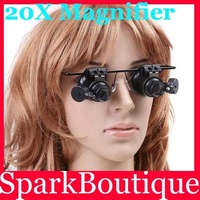 Min Order $10 (Mix Order) Newest Jeweler Watch Repair LED Light Glasses 20X Magnifier Magnifying Eye Glasses Loupe Lens