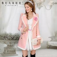 2013 autumn and winter Pink white laciness pearl slim waist elegant womne's coat