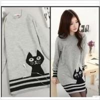 2013 New Autumn Winter Cute cat Animal Knitted Dress Women Pullover,Long Sweater  Kitten Striped Tops,Free Shipping
