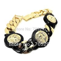 Men's Gold Tone Finish 3 Medusa Piece Thick Cuban Link 8 Inch Bracelet Free Shipping