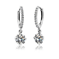 Cubic Zirconia Jewelry Earrings 8mm 2ct Round Swiss AAA CZ Dangled Hoop Earring