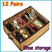 3pcs/lot Recent 12 Pairs Fabric Intake Shoe storage Organizer Box case