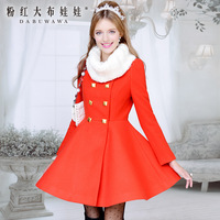 2013free shipping + wholesale double breasted skirt women's orange wool coat