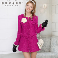 2013 autumn and winter purple paillette square grid slim long-sleeve women long wool coat