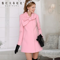 2013 autumn and winter pink bow pearl flower women's  outerwear