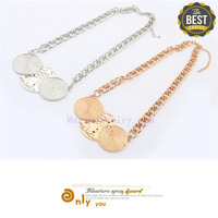 Jewellery Retro Fashion Double Round Disk Antique Gold Plated Exquisite Geometric Women Necklaces (No.00675-1) Min Order $10