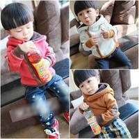 children baby boys cotton hoodie kids oblique zipper winter coat plus velvet sweater clothes