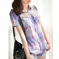 2013 women's sweet lace decoration cutout short-sleeve plaid shirt